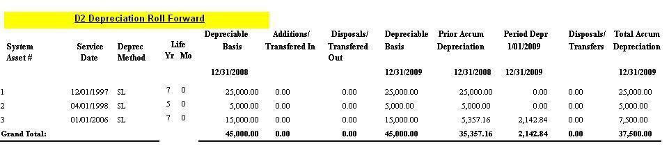 Report for Depreciation Roll Forward