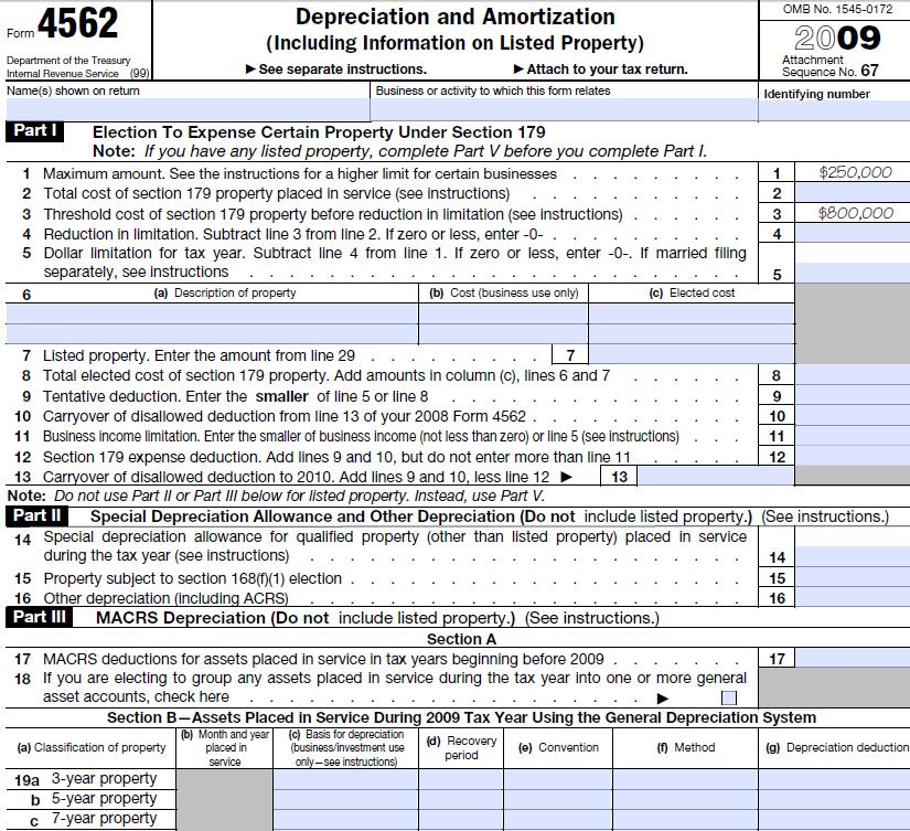 Irs Form 4562 Information And Instructions
