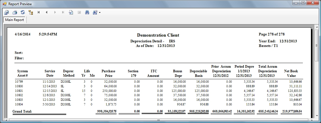 Federal Tax Depreciation