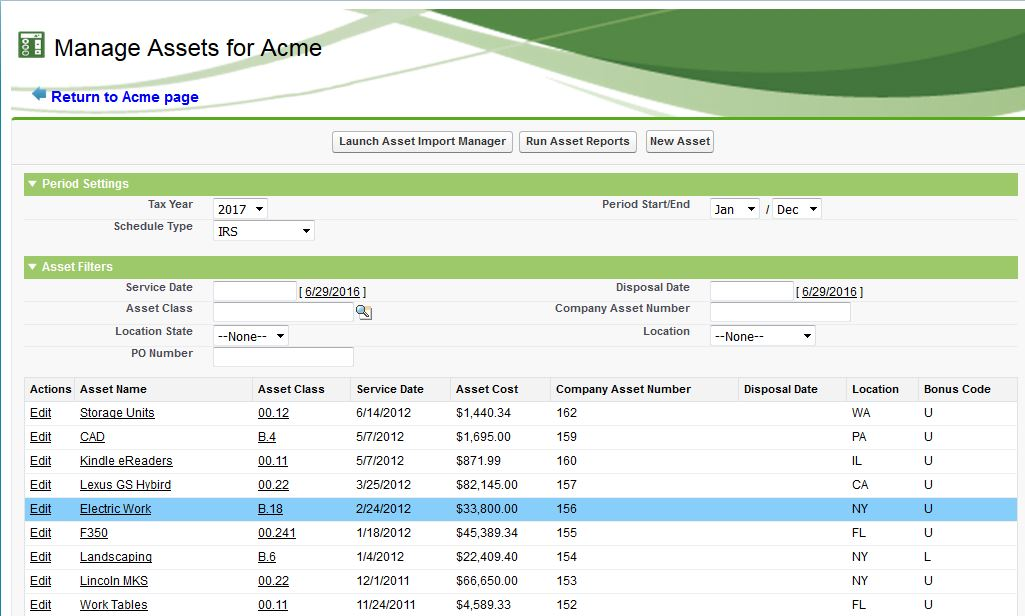Manage a List of Fixed Asset Records with a Web Browser 1